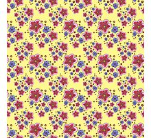 pink and blue flowers on yellow Photographic Print
