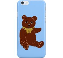 Brown Teddy Bear with Blue iPhone Case/Skin