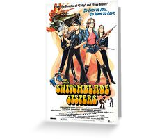 Switchblade Sisters Alt 1 (Blue) Greeting Card