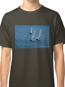 Into The Wind - Crisp White Sails On a Caribbean Blue Classic T-Shirt