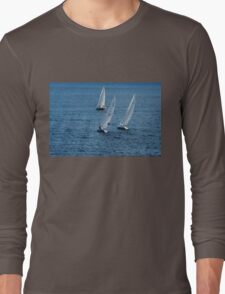 Into The Wind - Crisp White Sails On a Caribbean Blue Long Sleeve T-Shirt