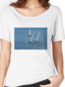 Into The Wind - Crisp White Sails On a Caribbean Blue Women's Relaxed Fit T-Shirt