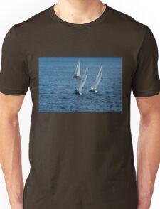 Into The Wind - Crisp White Sails On a Caribbean Blue Unisex T-Shirt