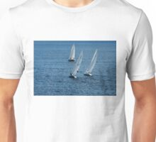 Into The Wind - Crisp White Sails On a Caribbean Blue Unisex T-Shirt