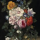 Nicolaes van Veerendael - Flowers in a glass vase, butterfly and beetle on a stone ledge (17th century) by Adam Asar