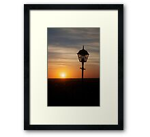 Lamp in the sunset A Framed Print