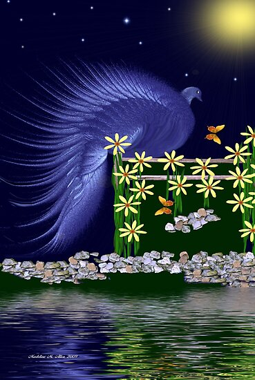 ~ ROYAL PEACOCK BY MOONLIGHT ~ by Madeline M  Allen