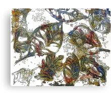 Leaves 17 Mixed Media - Ink on Acrylic Monoprint Canvas Print