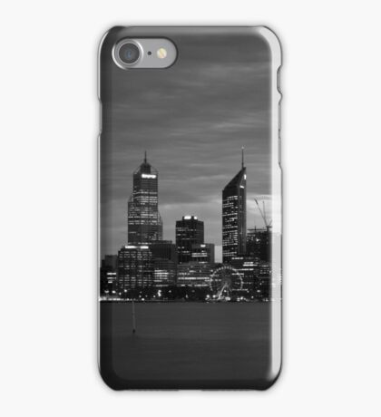 city skyline in black and white iPhone Case/Skin