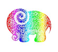 Rainbow Elephant Doodle Photographic Print