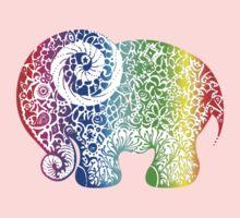 Rainbow Elephant Doodle Kids Clothes