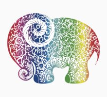 Rainbow Elephant Doodle Kids Clothes