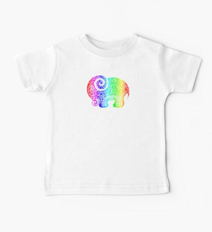Rainbow Elephant Doodle Baby Tee