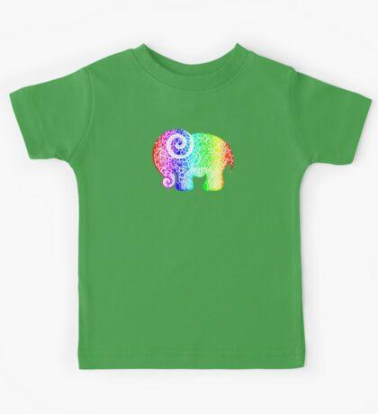 Rainbow Elephant Doodle Kids Tee