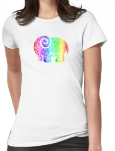 Rainbow Elephant Doodle Womens Fitted T-Shirt