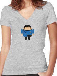 Dr. Spock BugDroid Women's Fitted V-Neck T-Shirt