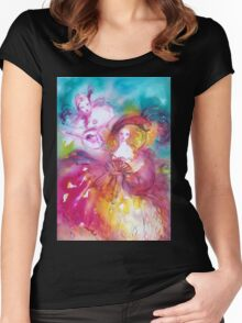 PIERROT AND ARLECCHINA Venetian Carnival Masks Women's Fitted Scoop T-Shirt