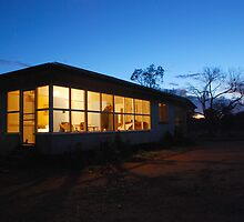Outback farm cottage at dusk by Speedy