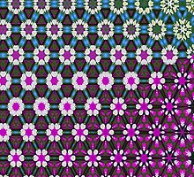 Abstract bright floral geometric pattern teal pink white by Katho Menden