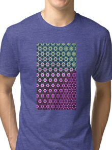 Abstract bright floral geometric pattern teal pink white Tri-blend T-Shirt
