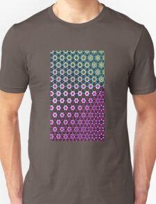 Abstract bright floral geometric pattern teal pink white T-Shirt