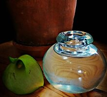 Clay, Glass, Flower and Wood Still Life by Bine
