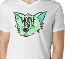 Woolf Pack Wolf Green Mens V-Neck T-Shirt