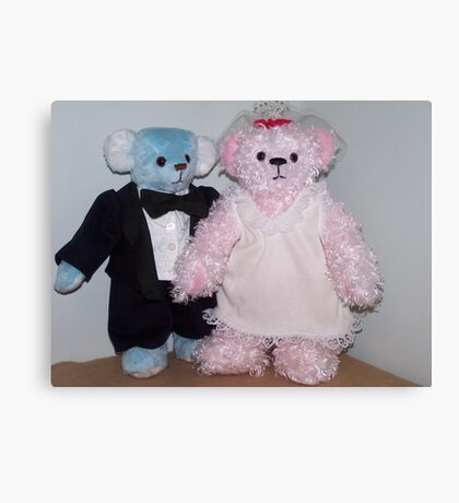 Bride and Groom Bears Canvas Print