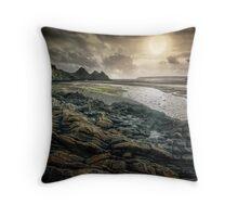 Moody Three Cliffs Bay Gower Throw Pillow