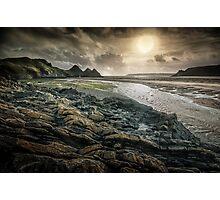 Moody Three Cliffs Bay Gower Photographic Print