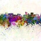 Grand Rapids skyline in watercolor background by paulrommer