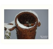 Snowy Pipes Art Print