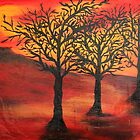 Three Trees Under Red Sky by WhiteDove Studio kj gordon