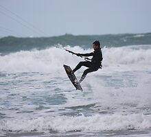High flyer at Fistral beach, Cornwall by 1throughmyeyes