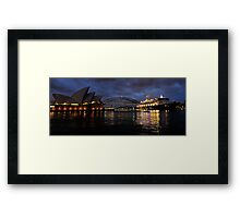 Morning Encounter - Queen Mary 2 ,Sydney Opera House, Sydney Harbour Bridge, Sydney Harbour  Framed Print
