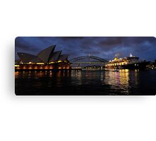 Morning Encounter - Queen Mary 2 ,Sydney Opera House, Sydney Harbour Bridge, Sydney Harbour  Canvas Print