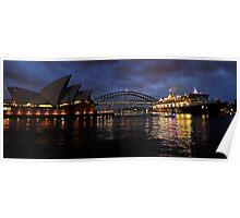 Morning Encounter - Queen Mary 2 ,Sydney Opera House, Sydney Harbour Bridge, Sydney Harbour  Poster