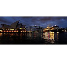 Morning Encounter - Queen Mary 2 ,Sydney Opera House, Sydney Harbour Bridge, Sydney Harbour  Photographic Print