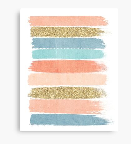 Mariko - Brushstroke, Painterly, painted, paint, summer, 70s colors  Canvas Print
