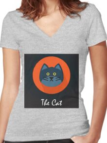 The Cat Cute Portrait Women's Fitted V-Neck T-Shirt
