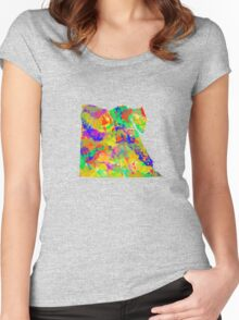 Watercolor Map of Egypt Women's Fitted Scoop T-Shirt
