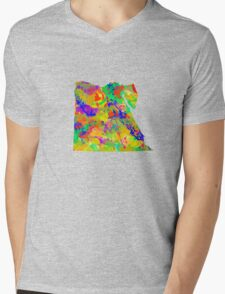 Watercolor Map of Egypt Mens V-Neck T-Shirt