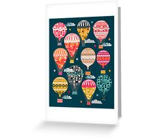 Hot Air Balloons - Retro, Vintage-inspired Print and Pattern by Andrea Lauren Greeting Card