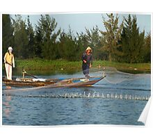 Net fishing in Hoi An, Central Vietnam Poster