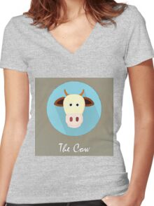 The Cow Cute Portrait Women's Fitted V-Neck T-Shirt
