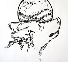 Wolf and Moon-Pen and Ink by Sarah Johnson