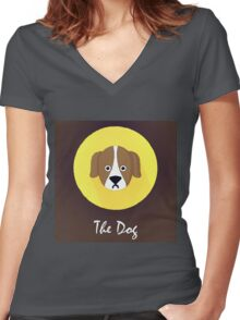 The Dog Cute Portrait Women's Fitted V-Neck T-Shirt