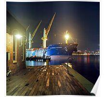 Boat in Harbor at Night Poster