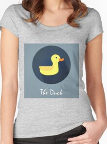 The Duck Cute Portrait Women's Fitted Scoop T-Shirt