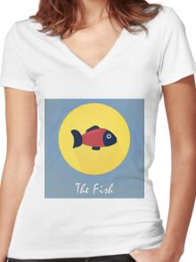 The Fish Cute Portrait Women's Fitted V-Neck T-Shirt
